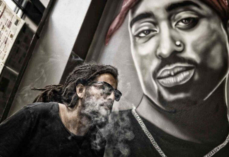 man-with-dreadlocks-and-sunglasses-poses-near-tupac-shakur-802195